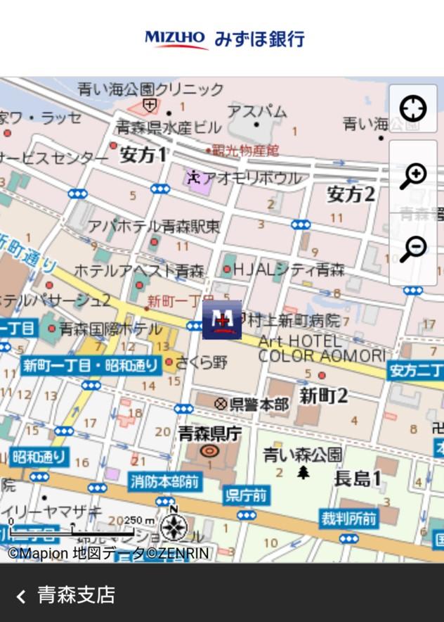 みずほ銀行までの地図